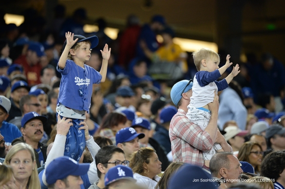 Great Los Angeles Dodger fans against the San Diego Padres Saturday, April 30,2016 at Dodger Stadium in Los Angeles,California.