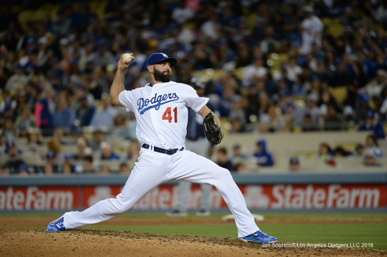 Los Angeles Dodgers Chris Hatcher pitches against the San Diego Padres Saturday, April 30,2016 at Dodger Stadium in Los Angeles,California.