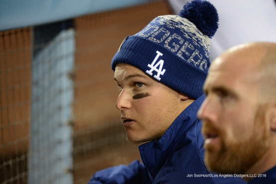 Los Angeles Dodgers Joc Pederson in the dugout during game against the San Diego Padres Saturday, April 30,2016 at Dodger Stadium in Los Angeles,California.