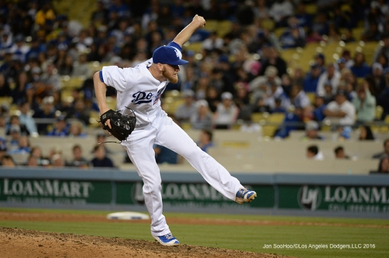 Los Angeles Dodgers J.P. Howell pitches against the San Diego Padres Saturday, April 30,2016 at Dodger Stadium in Los Angeles,California.