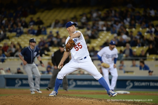 Los Angeles Dodgers Joe Blanton pitches against the San Diego Padres Saturday, April 30,2016 at Dodger Stadium in Los Angeles,California.