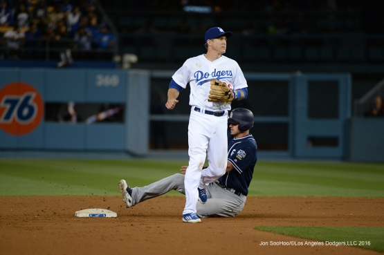Los Angeles Dodgers Chase Utley during game against the San Diego Padres Saturday, April 30,2016 at Dodger Stadium in Los Angeles,California.