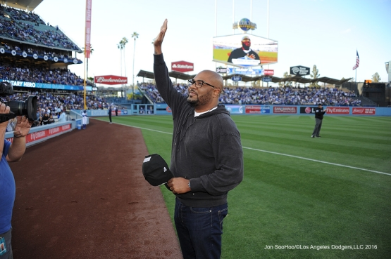 Los Angeles Dodgers Military Hero of the Game, US Marines, Corporal, Keith Jenkins waves to the crowd during game against the San Diego Padres Saturday, April 30,2016 at Dodger Stadium in Los Angeles,California.
