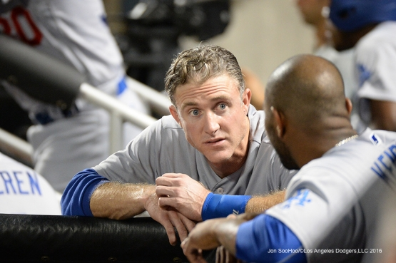Los Angeles Dodgers  Chase Utley in the dugout during game against the New York Mets Saturday, May 28, 2016 at Citi Field in Flushing,New York.