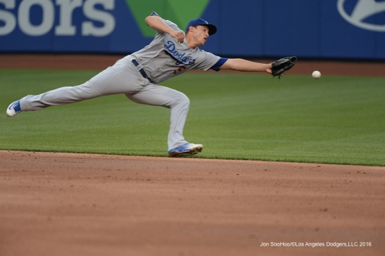 Los Angeles Dodgers Corey Seager can't get to ball during game against the New York Mets Friday, May 27, 2016 at Citi Field in Flushing,New York.