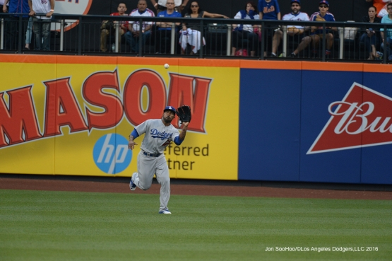 Los Angeles Dodgers Howie Kendrick catches ball during game against the New York Mets Friday, May 27, 2016 at Citi Field in Flushing,New York.