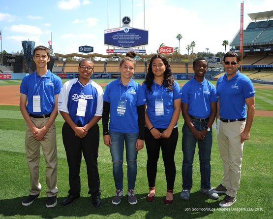Junior Dodgers Broadcasters pose prior to game against the San Diego Padres Sunday, May 1,2016 at Dodger Stadium in Los Angeles,California.