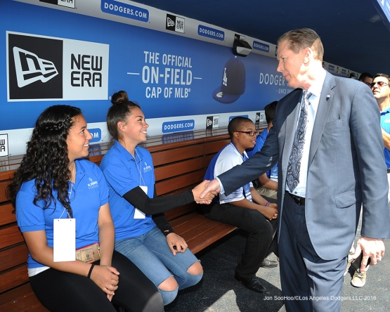 Orel Hershiser meets Junior Dodgers Broadcasters prior to game against the San Diego Padres Sunday, May 1,2016 at Dodger Stadium in Los Angeles,California.