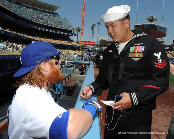 Los Angeles Dodgers Military Hero of the Game Daniel Contreras meets Justin Turner prior to game against the San Diego Padres Sunday, May 1,2016 at Dodger Stadium in Los Angeles,California.