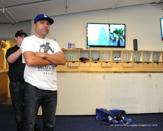 Oscar De La Hoya in the batting cage prior to game against the San Diego Padres Sunday, May 1,2016 at Dodger Stadium in Los Angeles,California.