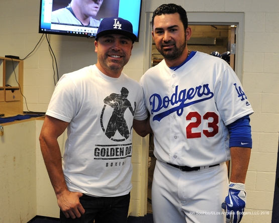 Oscar De La Hoya and Los Angeles Dodgers Adrian Gonzalez pose prior to game against the San Diego Padres Sunday, May 1,2016 at Dodger Stadium in Los Angeles,California.