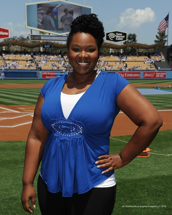 Anthem singer Moya Angela poses prior to game against the San Diego Padres Sunday, May 1,2016 at Dodger Stadium in Los Angeles,California.