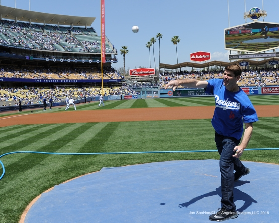 First  pitch Hi Chew representative Darren Kolinsky poses before game against the San Diego Padres Sunday, May 1,2016 at Dodger Stadium in Los Angeles,California.