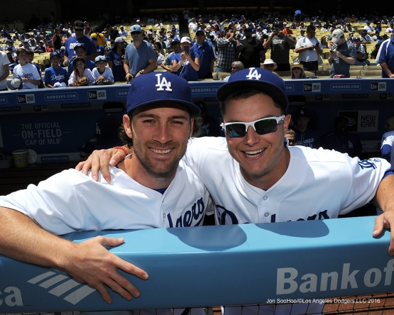 Los Angeles Dodgers Charlie Culberson and Joc Pederson pose prior to game against the San Diego Padres Sunday, May 1,2016 at Dodger Stadium in Los Angeles,California.