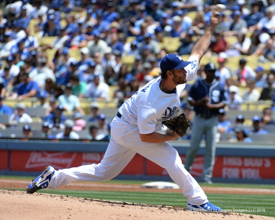 Los Angeles Dodgers Clayton Kershaw pitches against the San Diego Padres Sunday, May 1,2016 at Dodger Stadium in Los Angeles,California.