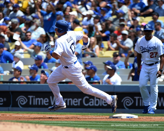 Los Angeles Dodgers A.J. Ellis heads to second base against the San Diego Padres Sunday, May 1,2016 at Dodger Stadium in Los Angeles,California.