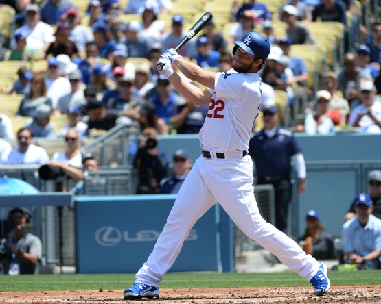 Los Angeles Dodgers Clayton Kershaw knocks in run against the San Diego Padres Sunday, May 1,2016 at Dodger Stadium in Los Angeles,California.