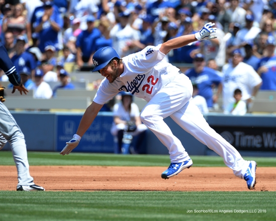 Los Angeles Dodgers Clayton Kershaw heads to second against the San Diego Padres Sunday, May 1,2016 at Dodger Stadium in Los Angeles,California.