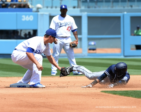 Los Angeles Dodgers Corey Seager makes the tag against the San Diego Padres Sunday, May 1,2016 at Dodger Stadium in Los Angeles,California.