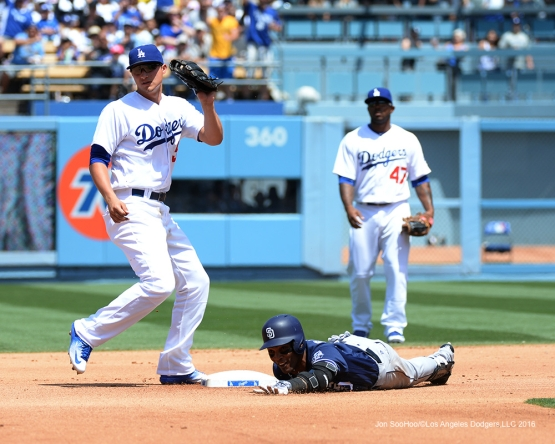 Los Angeles Dodgers Corey Seager shows the ball to ump during game against the San Diego Padres Sunday, May 1,2016 at Dodger Stadium in Los Angeles,California.