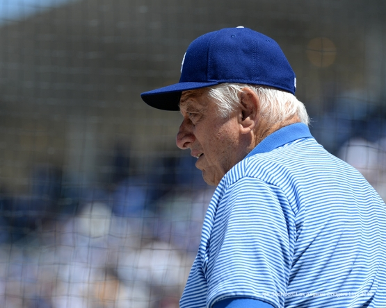 Los Angeles Dodgers Tommy Lasorda during game against the San Diego Padres Sunday, May 1,2016 at Dodger Stadium in Los Angeles,California.