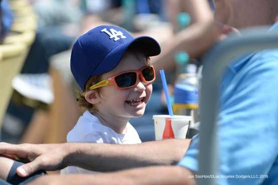 Great Los Angeles Dodgers fan laughs during game against the San Diego Padres Sunday, May 1,2016 at Dodger Stadium in Los Angeles,California.