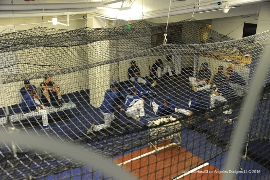 Los Angeles Dodgers meet in the cage prior to game against the New York Mets Monday, May 9,2016 at Dodger Stadium in Los Angeles,California.  Jon SooHoo/©Los Angeles Dodgers,LLC 2016