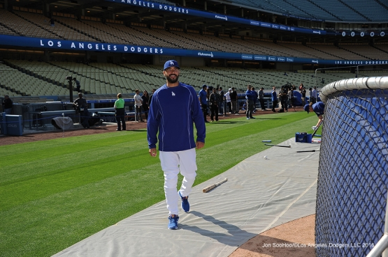 Los Angeles Dodgers Andre Ethier prior to game against the New York Mets Monday, May 9,2016 at Dodger Stadium in Los Angeles,California.  Jon SooHoo/©Los Angeles Dodgers,LLC 2016