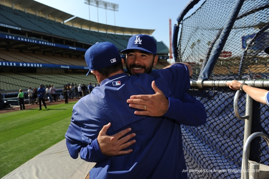 Los Angeles Dodgers Andre Ethier hugs Turner Ward prior to game against the New York Mets Monday, May 9,2016 at Dodger Stadium in Los Angeles,California.  Jon SooHoo/©Los Angeles Dodgers,LLC 2016