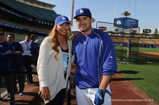LPGA golfer Alison Lee poses with Los Angeles Dodgers Adrian Gonzalez prior to game against the New York Mets Monday, May 9,2016 at Dodger Stadium in Los Angeles,California.  Jon SooHoo/©Los Angeles Dodgers,LLC 2016