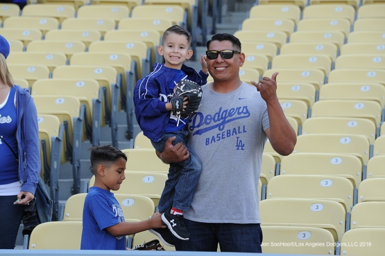 Great Los Angeles Dodgers fans pose prior to game against the New York Mets Monday, May 9,2016 at Dodger Stadium in Los Angeles,California.  Jon SooHoo/©Los Angeles Dodgers,LLC 2016