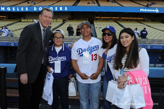 Orel Hershiser poses with Great Los Angeles Dodgers family prior to game against the New York Mets Monday, May 9,2016 at Dodger Stadium in Los Angeles,California.  Jon SooHoo/©Los Angeles Dodgers,LLC 2016