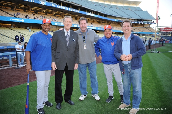 Dodgers Alumni pose prior to game against the New York Mets Monday, May 9,2016 at Dodger Stadium in Los Angeles,California. Tom Goodwin (L to R), Orel Hershiser, Kevin Kennedy, Terry Collins and Ron Cey.  Jon SooHoo/©Los Angeles Dodgers,LLC 2016
