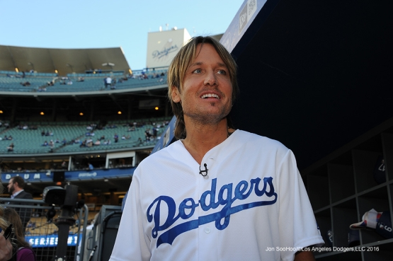 Keith Urban in the dugout prior to game against the New York Mets Monday, May 9,2016 at Dodger Stadium in Los Angeles,California.  Jon SooHoo/©Los Angeles Dodgers,LLC 2016