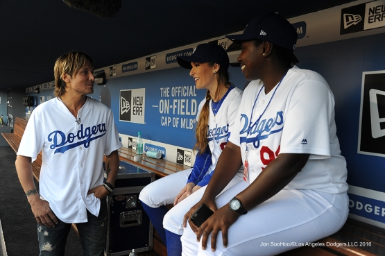 Keith Urban meets the Los Angeles Dodgers Ball Girls prior to game against the New York Mets Monday, May 9,2016 at Dodger Stadium in Los Angeles,California.  Jon SooHoo/©Los Angeles Dodgers,LLC 2016