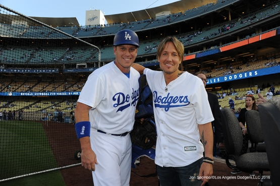 Los Angeles Dodgers A.J. Ellis and Keith Urban pose prior to game against the New York Mets Monday, May 9,2016 at Dodger Stadium in Los Angeles,California.  Jon SooHoo/©Los Angeles Dodgers,LLC 2016