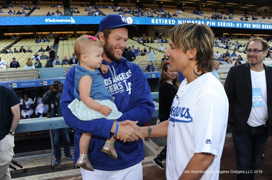 Los Angeles Dodgers Clayton Kershaw shake hands with Keith Urban prior to game against the New York Mets Monday, May 9,2016 at Dodger Stadium in Los Angeles,California.  Jon SooHoo/©Los Angeles Dodgers,LLC 2016