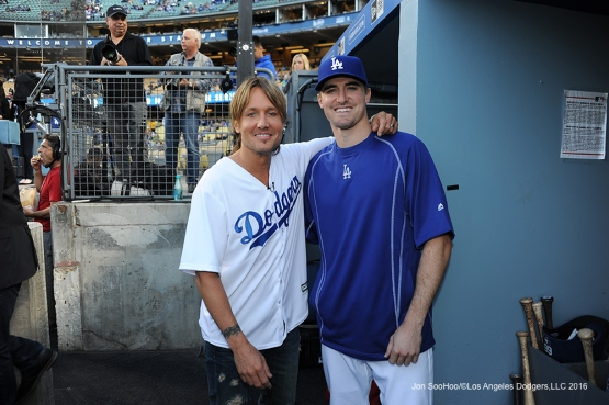 Keith Urban poses with Los Angeles Dodgers Ross Stripling prior to game against the New York Mets Monday, May 9,2016 at Dodger Stadium in Los Angeles,California.  Jon SooHoo/©Los Angeles Dodgers,LLC 2016