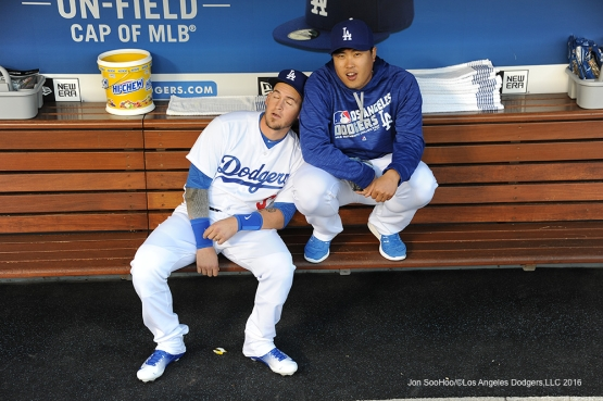 Los Angeles Dodgers Yasmani Grandal and Hyun-jin Ryu pose prior to game against the New York Mets Monday, May 9,2016 at Dodger Stadium in Los Angeles,California.  Jon SooHoo/©Los Angeles Dodgers,LLC 2016