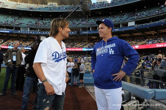 Keith Urban speaks with Los Angeles Dodgers Joc Pederson prior to game against the New York Mets Monday, May 9,2016 at Dodger Stadium in Los Angeles,California.  Jon SooHoo/©Los Angeles Dodgers,LLC 2016