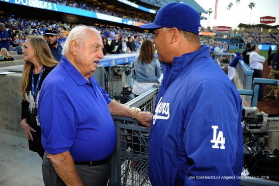 Los Angeles Dodgers Tommy Lasorda and Dave Roberts talk prior to game against the New York Mets Monday, May 9,2016 at Dodger Stadium in Los Angeles,California.  Jon SooHoo/©Los Angeles Dodgers,LLC 2016