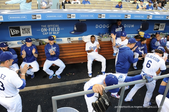 Los Angeles Dodgers pregame activity before game against the New York Mets Monday, May 9,2016 at Dodger Stadium in Los Angeles,California.  Jon SooHoo/©Los Angeles Dodgers,LLC 2016