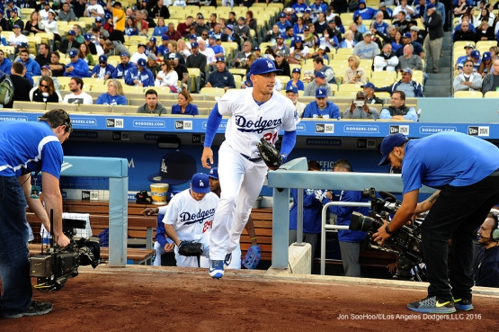 Los Angeles Dodgers Trayce Thompson takes the field against the New York Mets Monday, May 9,2016 at Dodger Stadium in Los Angeles,California.  Jon SooHoo/©Los Angeles Dodgers,LLC 2016