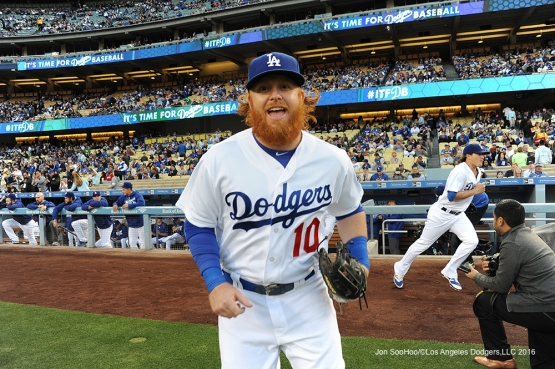 Los Angeles Dodgers Justin Turner takes the field for game against the New York Mets Monday, May 9,2016 at Dodger Stadium in Los Angeles,California.  Jon SooHoo/©Los Angeles Dodgers,LLC 2016