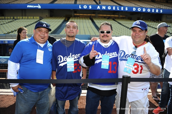 Dodger Pride Winners enjoy their prize on the field for batting practice prior to game against the New York Mets Tuesday, May 10,2016 at Dodger Stadium in Los Angeles,California.  Jon SooHoo/©Los Angeles Dodgers,LLC 2016