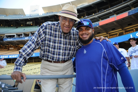 Los Angeles Dodgers Don Newcombe and Kenley Jansen pose  prior to game against the New York Mets Tuesday, May 10,2016 at Dodger Stadium in Los Angeles,California.  Jon SooHoo/©Los Angeles Dodgers,LLC 2016