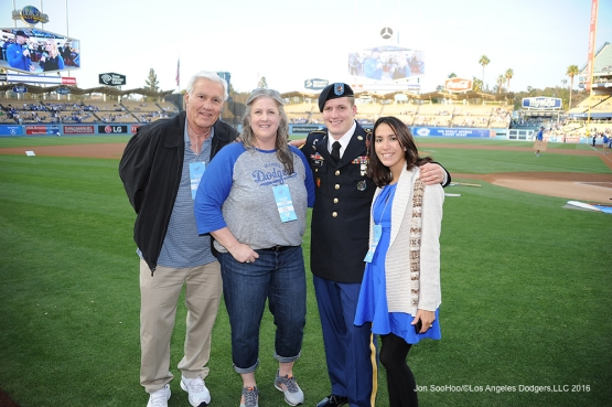 Dodgers Hero of the Game US Army Sergeant Ryan Paul poses with family prior to game against the New York Mets Tuesday, May 10,2016 at Dodger Stadium in Los Angeles,California.  Jon SooHoo/©Los Angeles Dodgers,LLC 2016