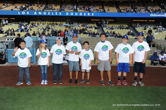 Los Angeles Dodgers Kids Taking the Field pose prior to game against the New York Mets Tuesday, May 10,2016 at Dodger Stadium in Los Angeles,California.  Jon SooHoo/©Los Angeles Dodgers,LLC 2016
