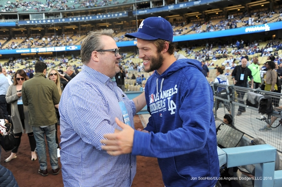 Actor Eric Stonestreet and Los Angeles Dodgers Clayton Kershaw embrace prior to game against the New York Mets Tuesday, May 10,2016 at Dodger Stadium in Los Angeles,California.  Jon SooHoo/©Los Angeles Dodgers,LLC 2016