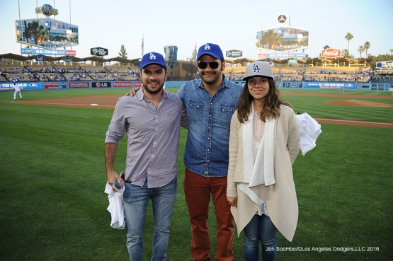 Great Los Angeles Dodger fans pose prior to game against the New York Mets Tuesday, May 10,2016 at Dodger Stadium in Los Angeles,California.  Jon SooHoo/©Los Angeles Dodgers,LLC 2016